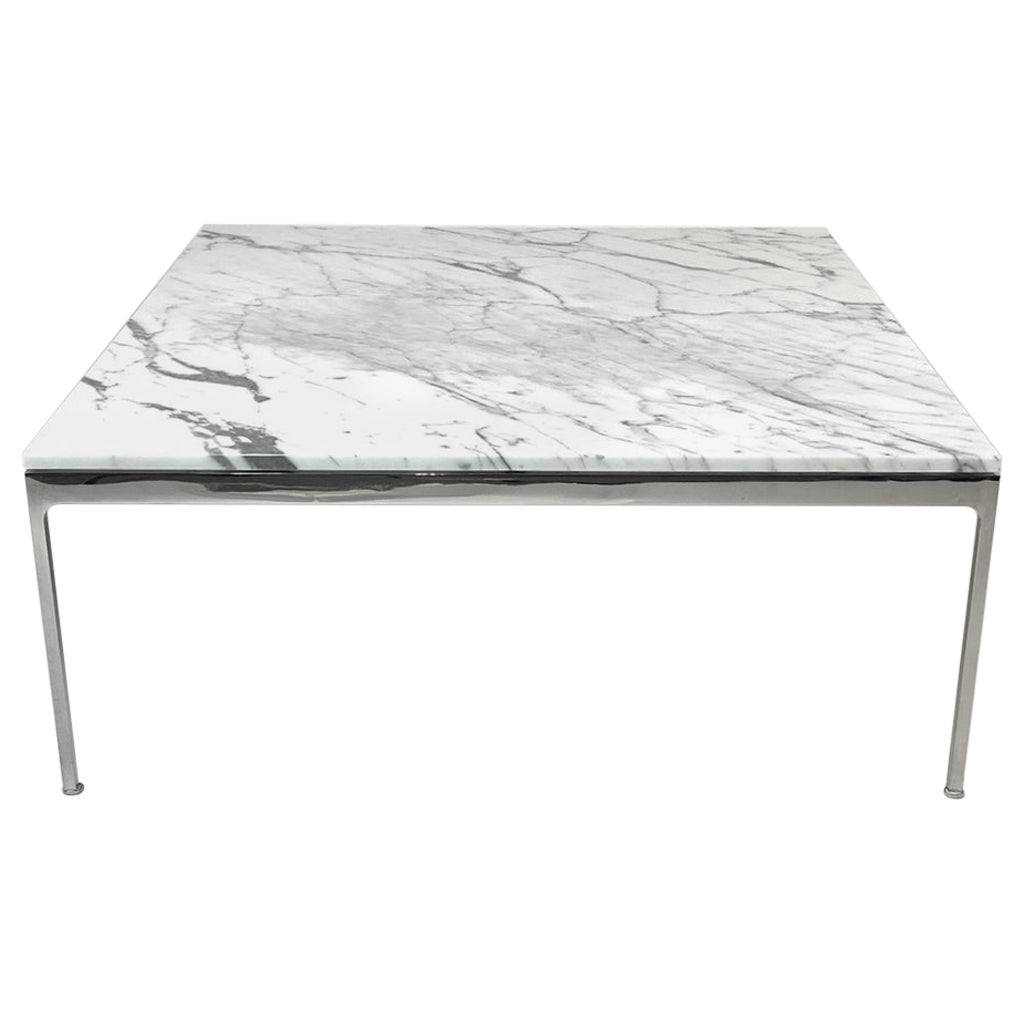 Large Nicos Zographos Square Marble and Stainless 35 Series Coffee Table