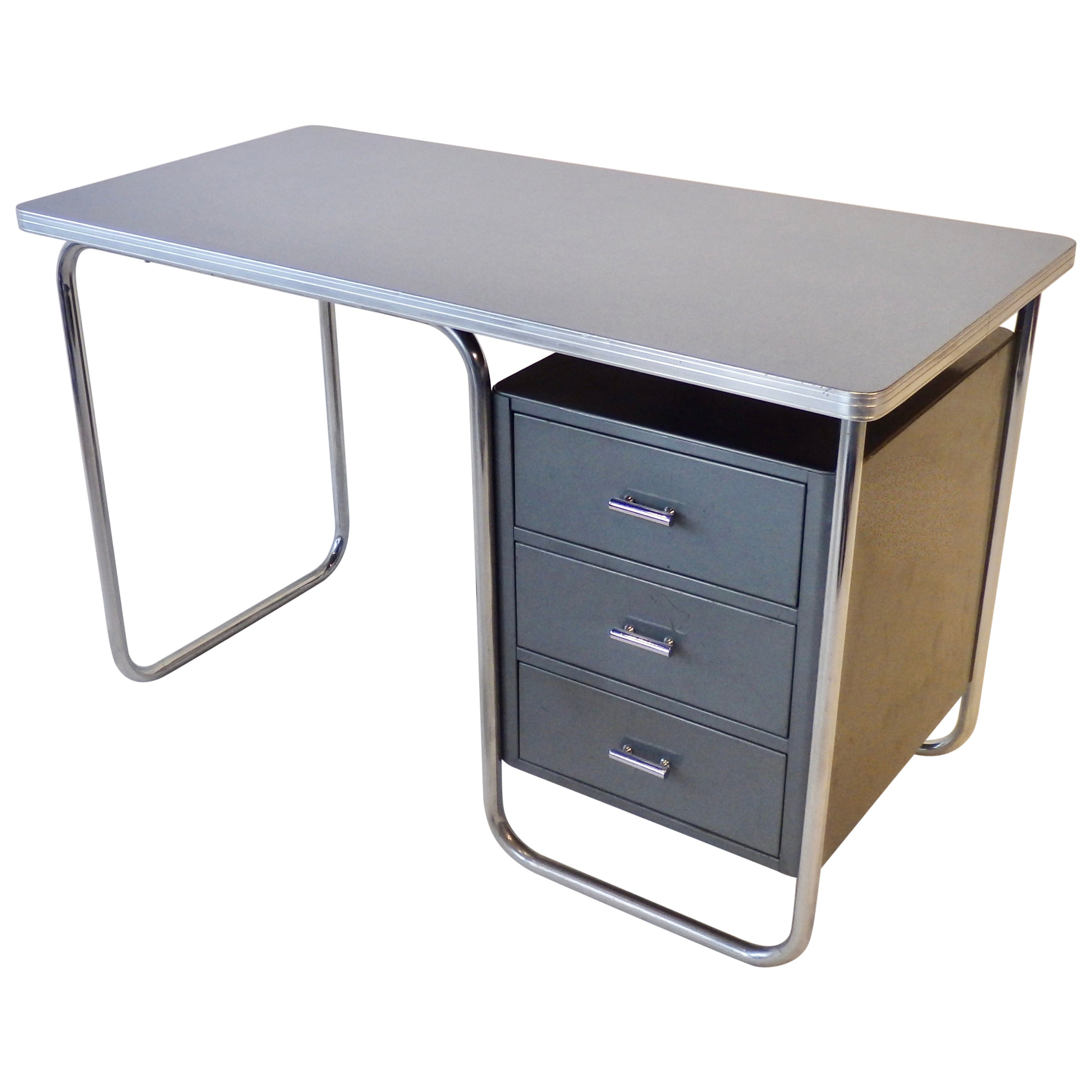 Royal Chrome Art Deco Machine Age Desk with Blue Laminate Top Grey Steel Drawers