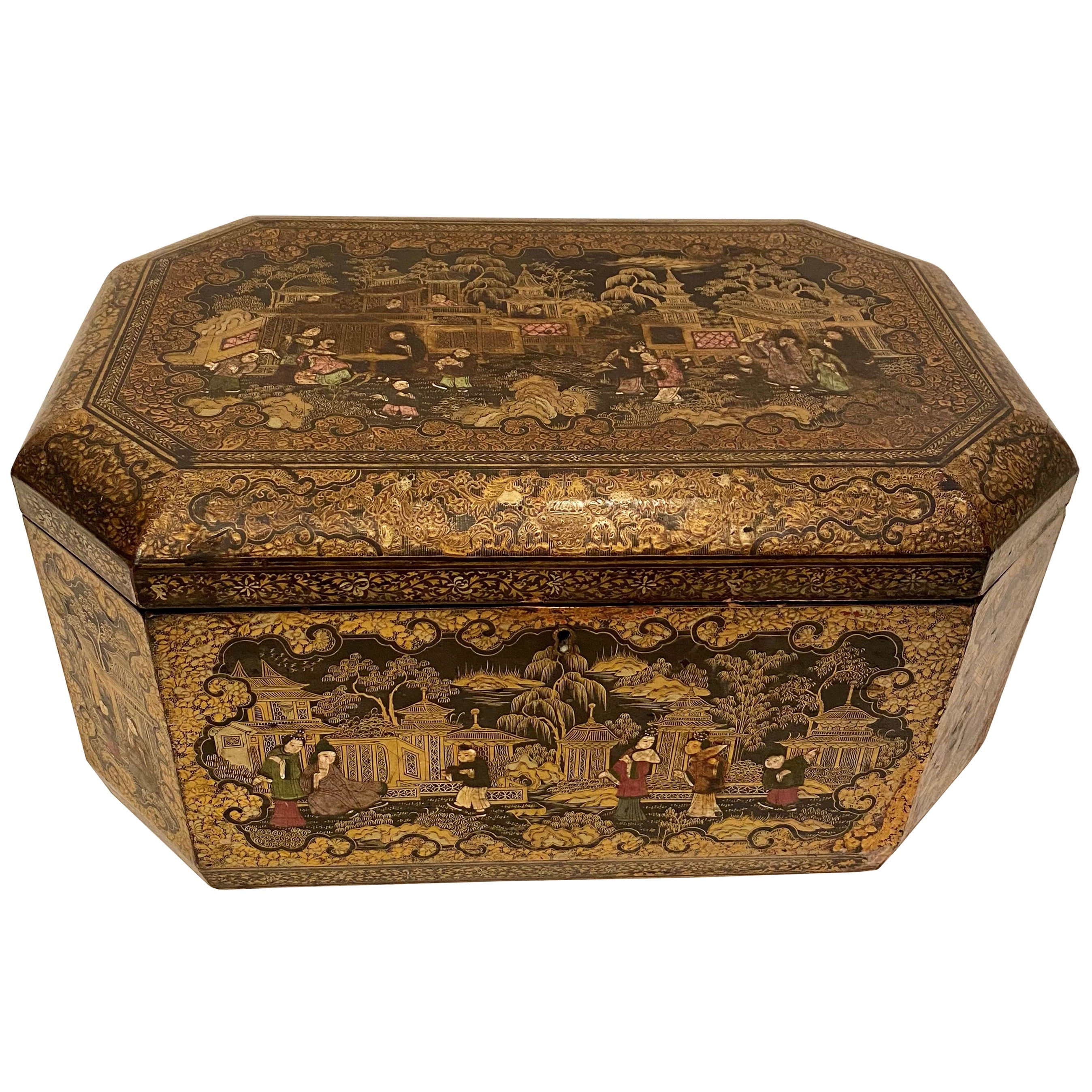 19th Century 18.5'' Large Golden Black Lacquer Chinese Table Book Box
