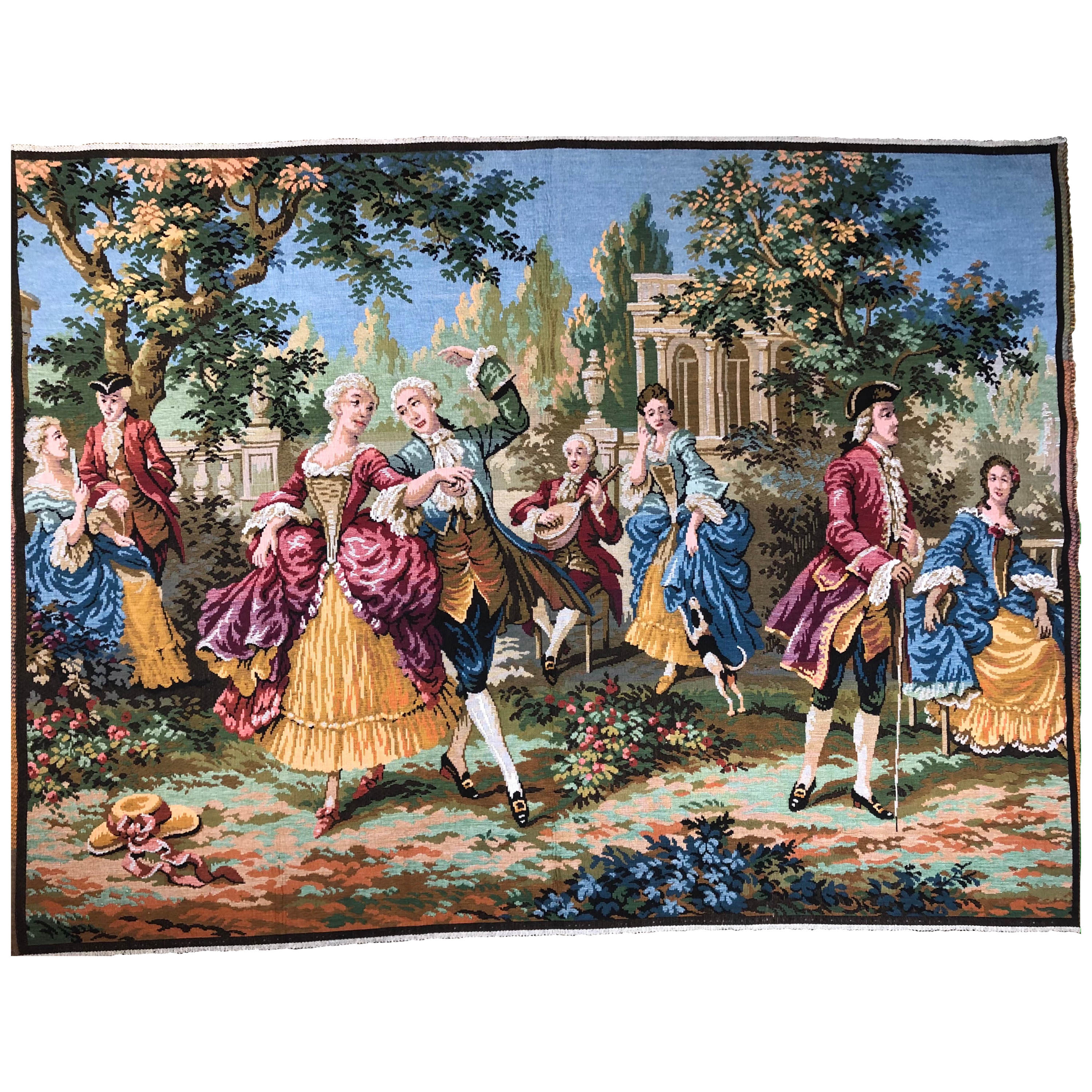 """20th Century Aubusson Style """"Dance and Celebration"""" Tapestry"""
