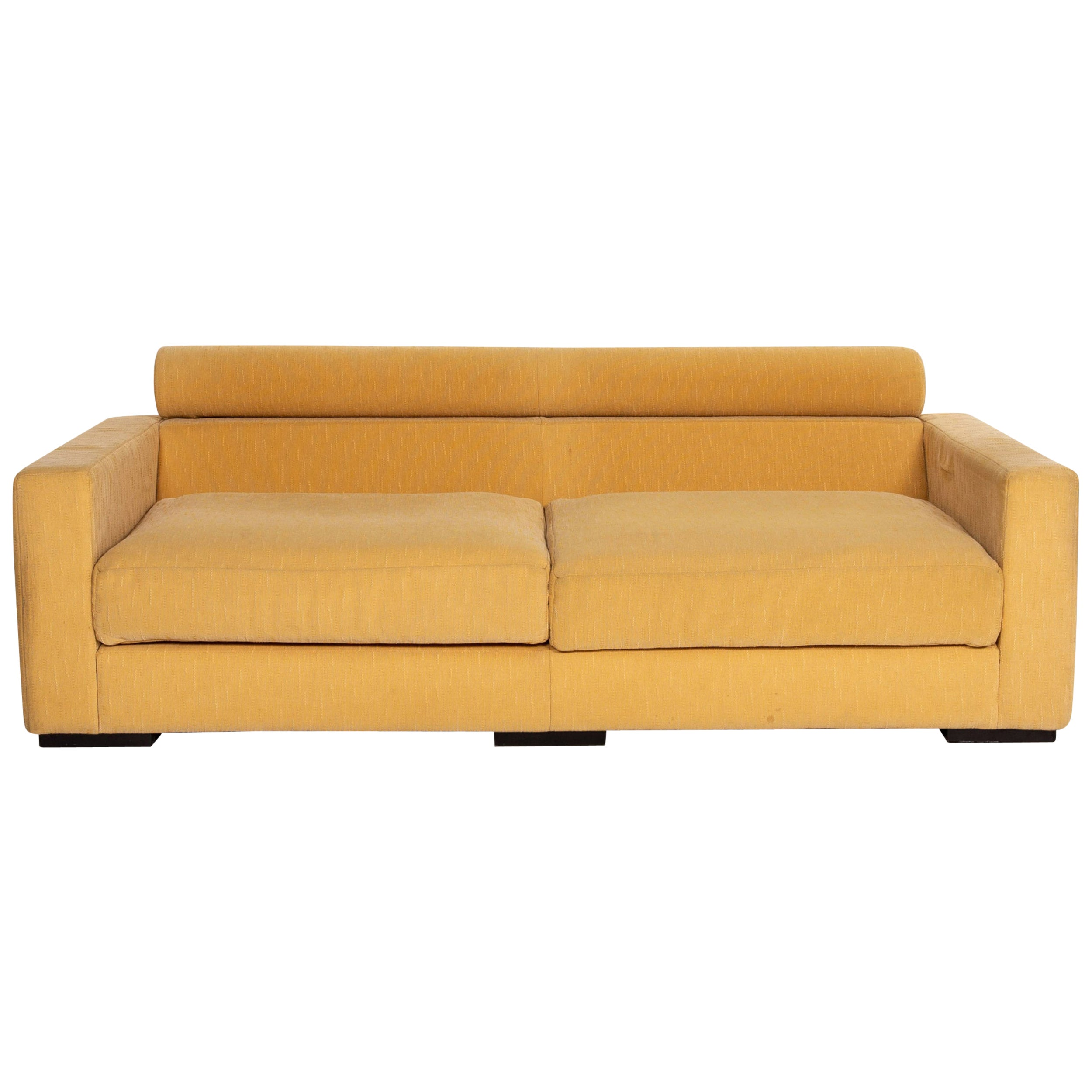 Roche Bobois Fabric Sofa Yellow Two-Seat Function Couch