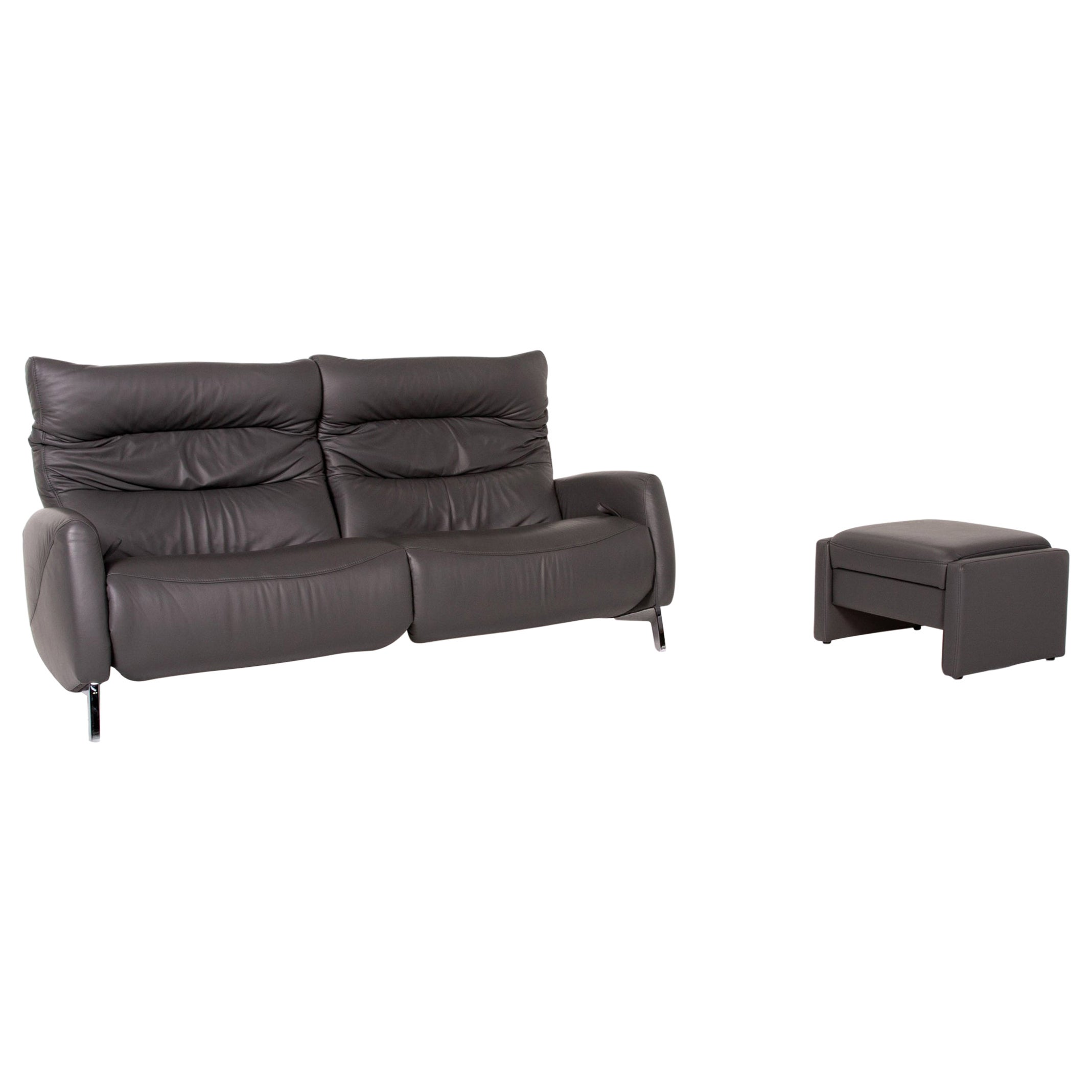 Mondo Recero Leather Sofa Gray Two-Seat Function Relax Function Couch