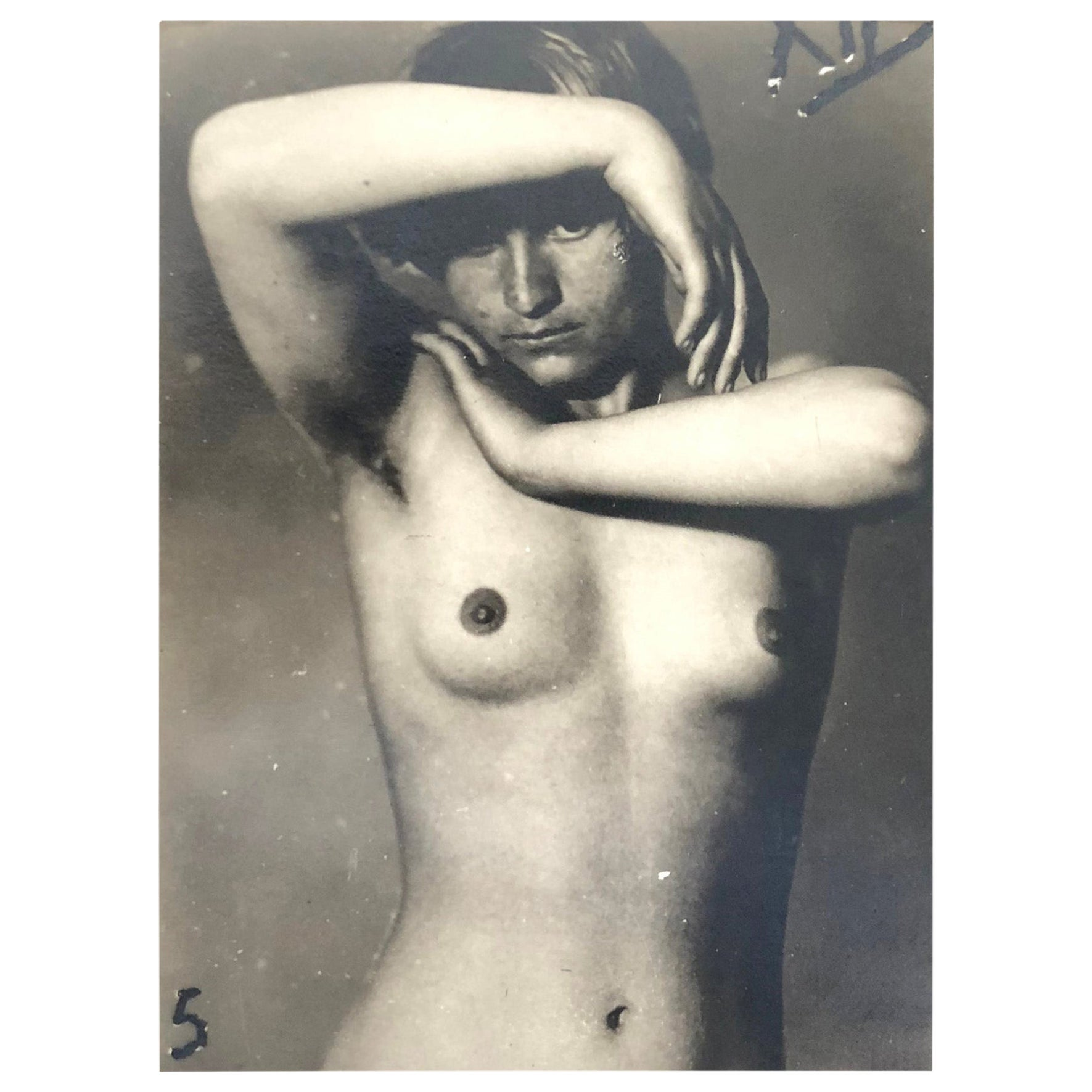 Nude Composition Photography, Pigment Print Mounted on Cardboard Framed