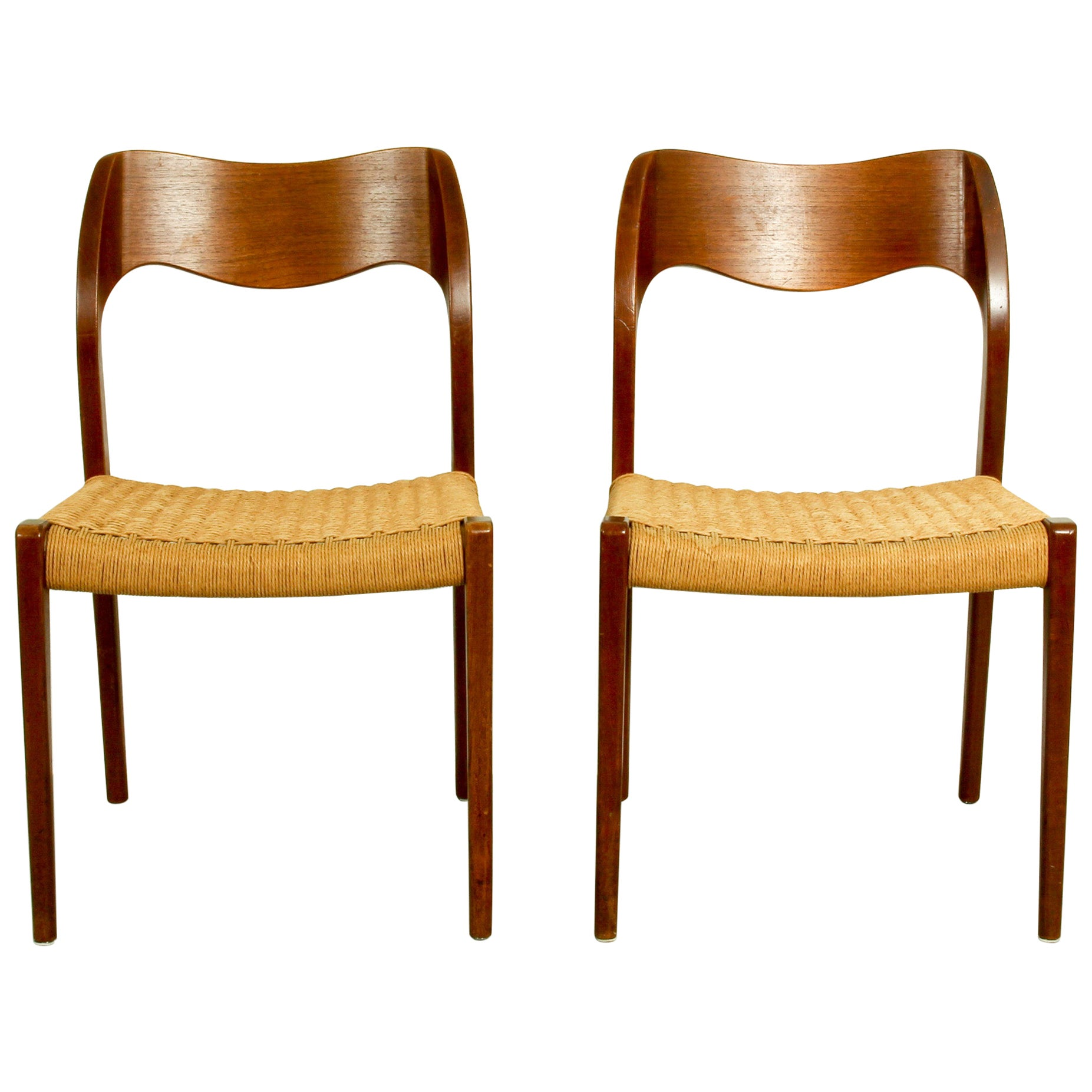 Pair of Teak Model 71 Dining Chairs by Niels Otto Møller for J.L. Møllers, 1950s