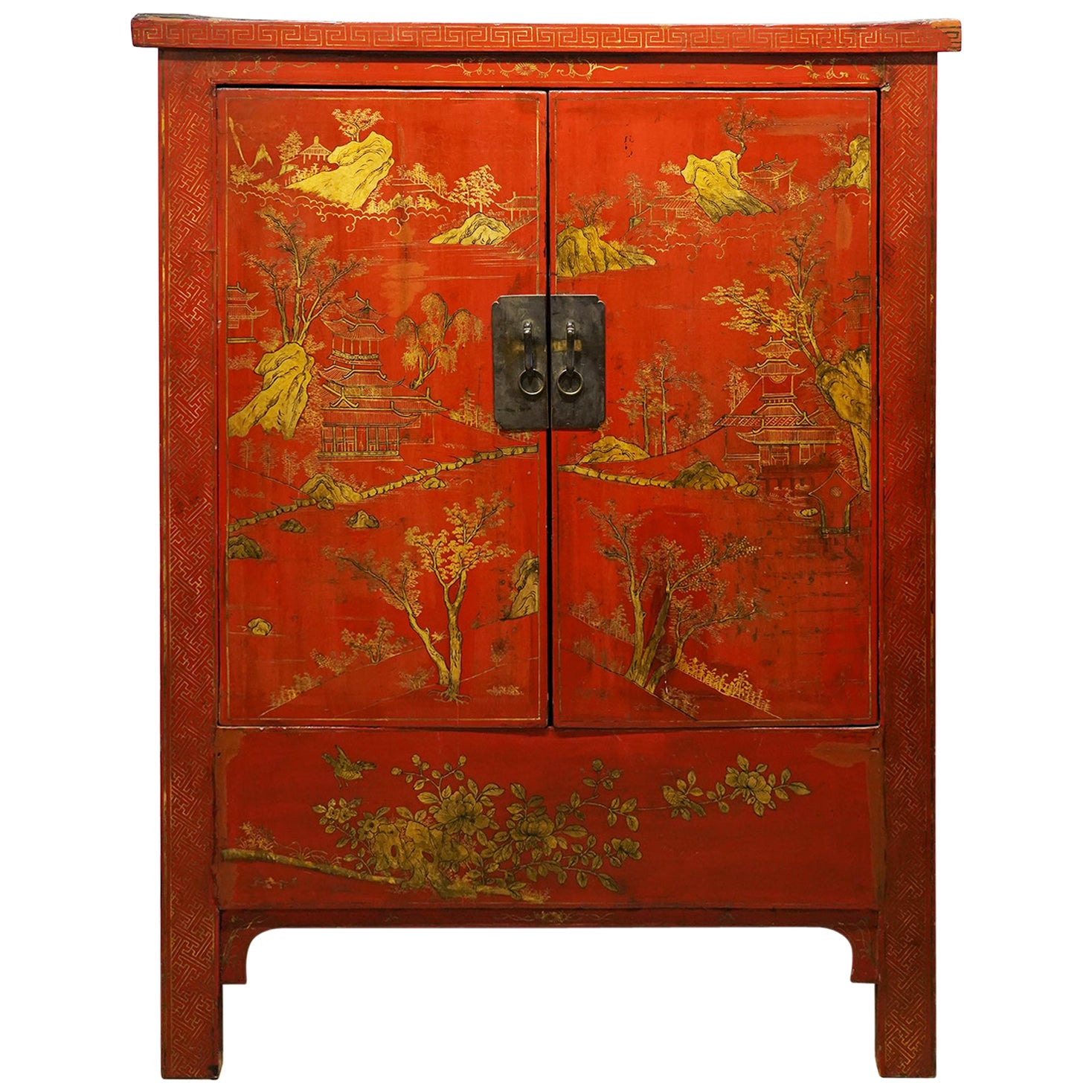 19th Century Chinese Red Lacquer and Gilt Decoration Two Door Wedding Cabinet