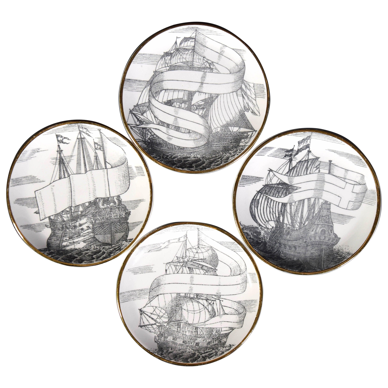 Set of Four Plates 'Velieri' by Piero Fornasetti, 1960s