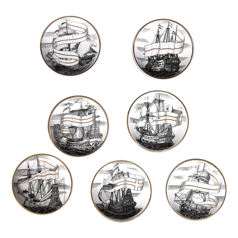 Set of Seven Plates 'Velieri' by Piero Fornasetti, 1960s