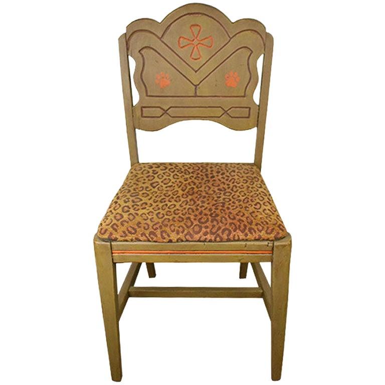 Hand Painted Feline Motif Upholstered Leopard Print Wood Chair in Green & Orange
