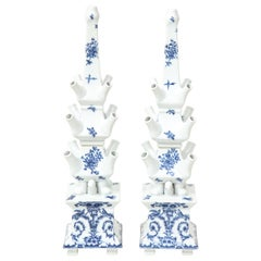 Pair of Delft Style Blue and White Porcelain Tulipières