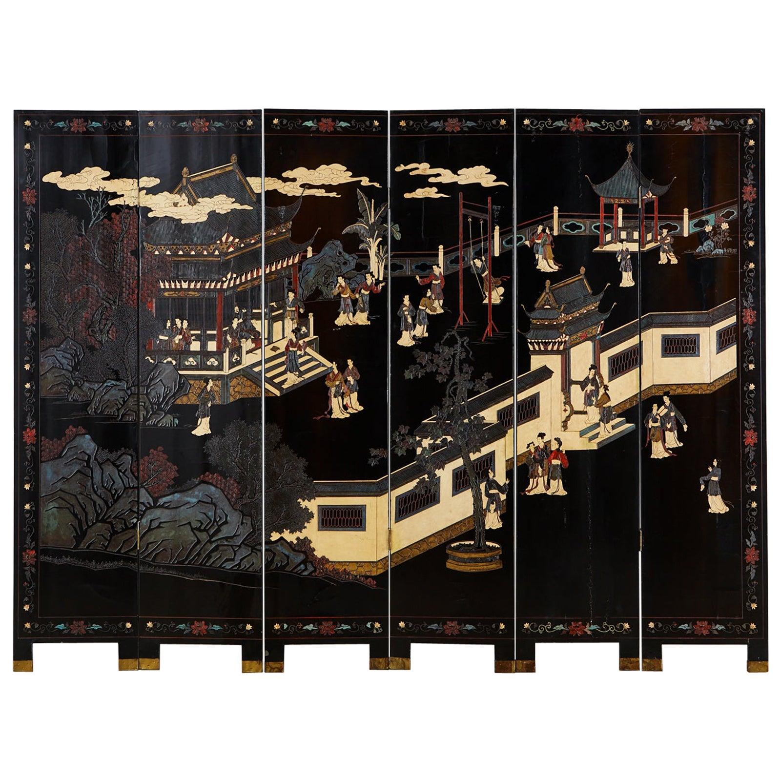 Chinese Export Six-Panel Lacquered Coromandel Screen