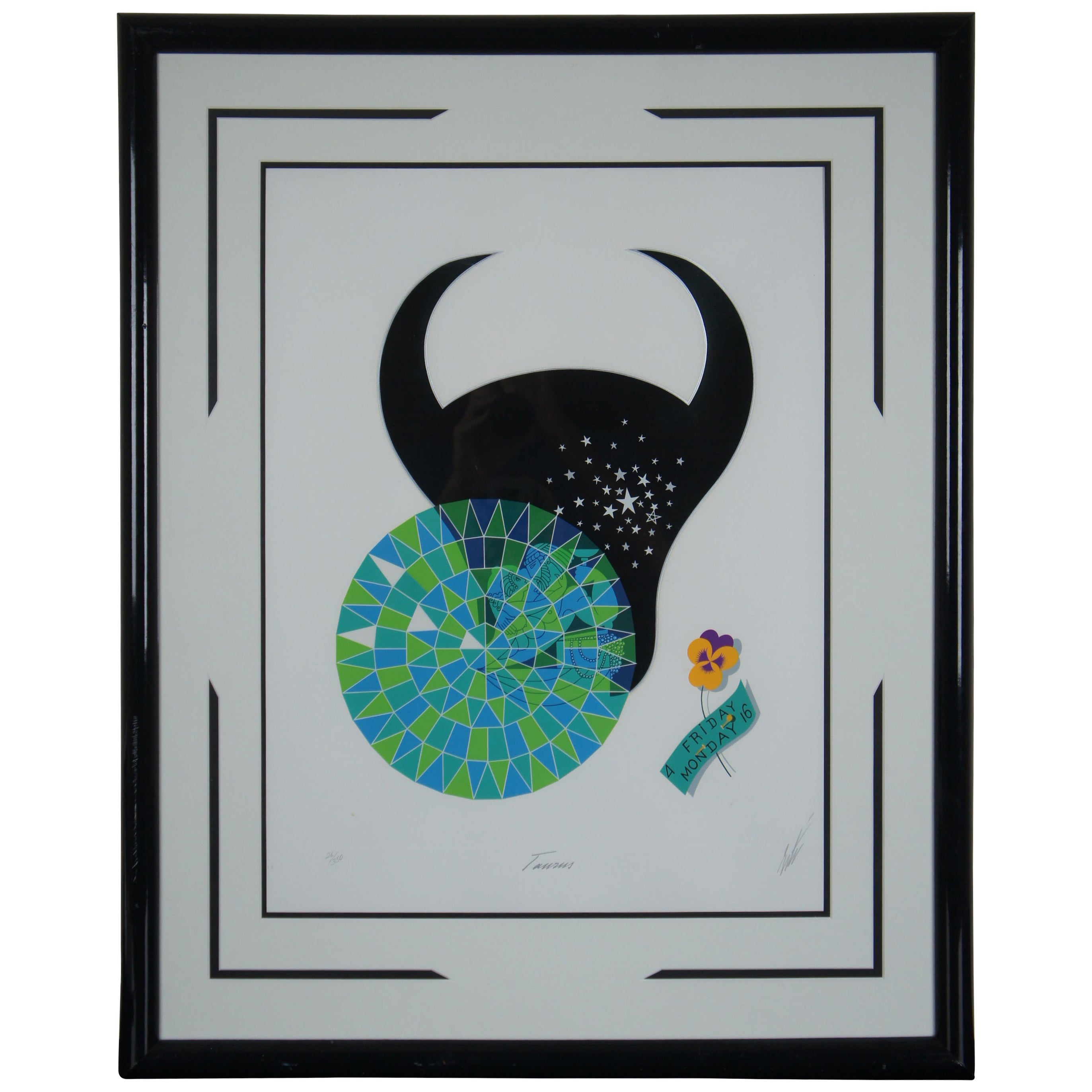 Zodiac Taurus by Erté Limited Edition Serigraph Print Art Deco Astrology
