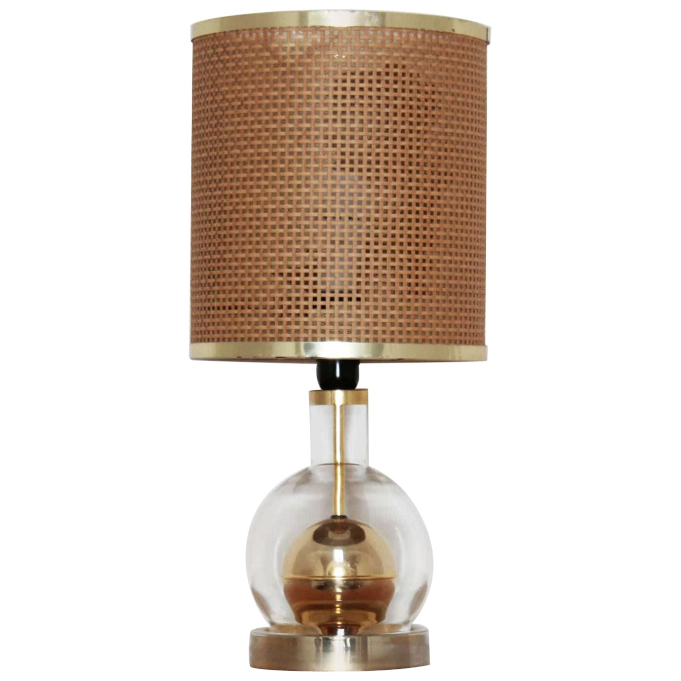 1970s Vintage Vimini and Brass Exotic Table Lamp