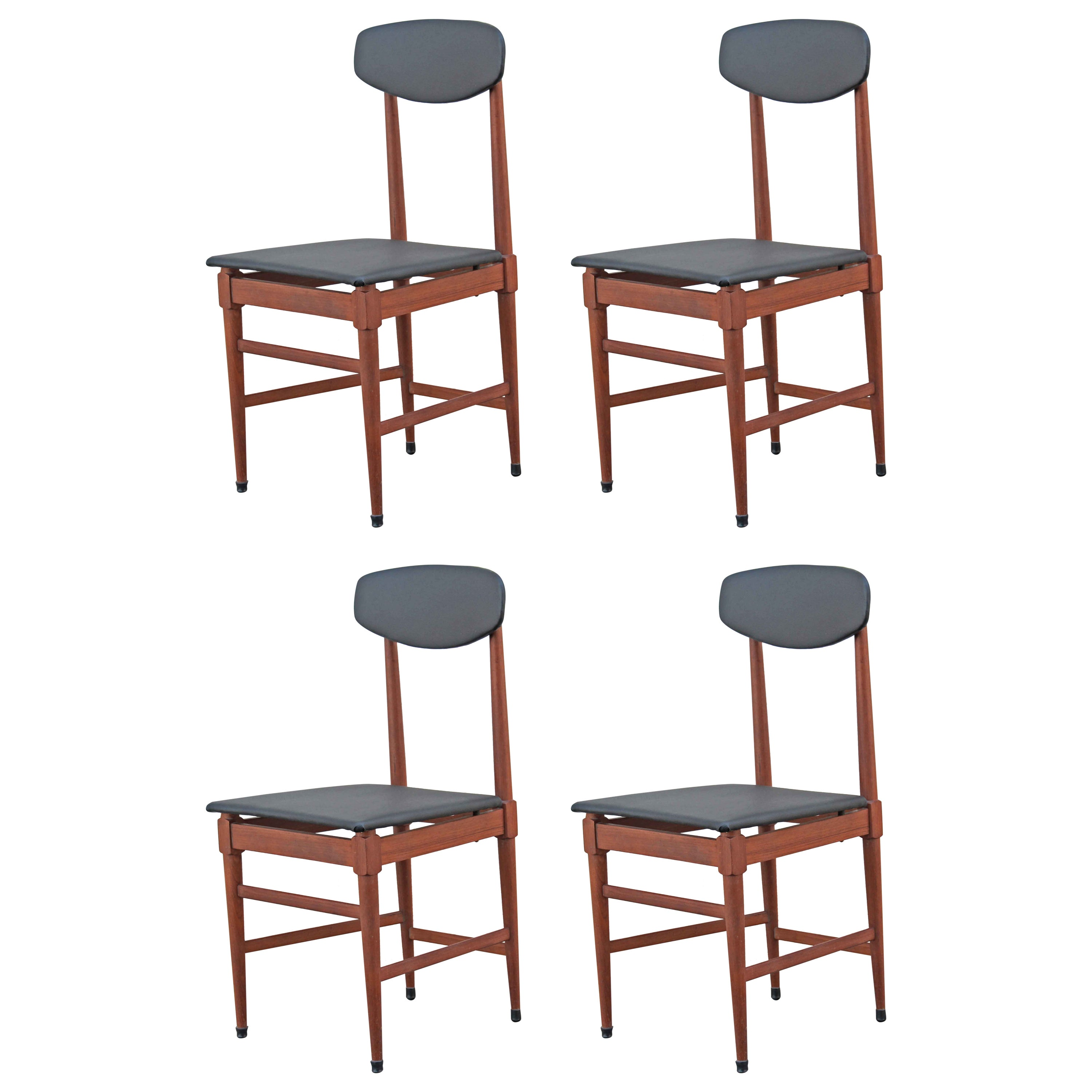 1960s Vintage Scandinavian Dining Chairs, Set of Four