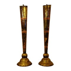 Pair of Brass and Copper Table Lamps