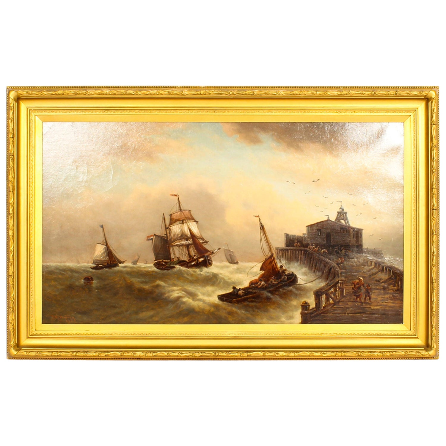 Antique Stormy Seascape Painting by David Horatio Winder, 1926