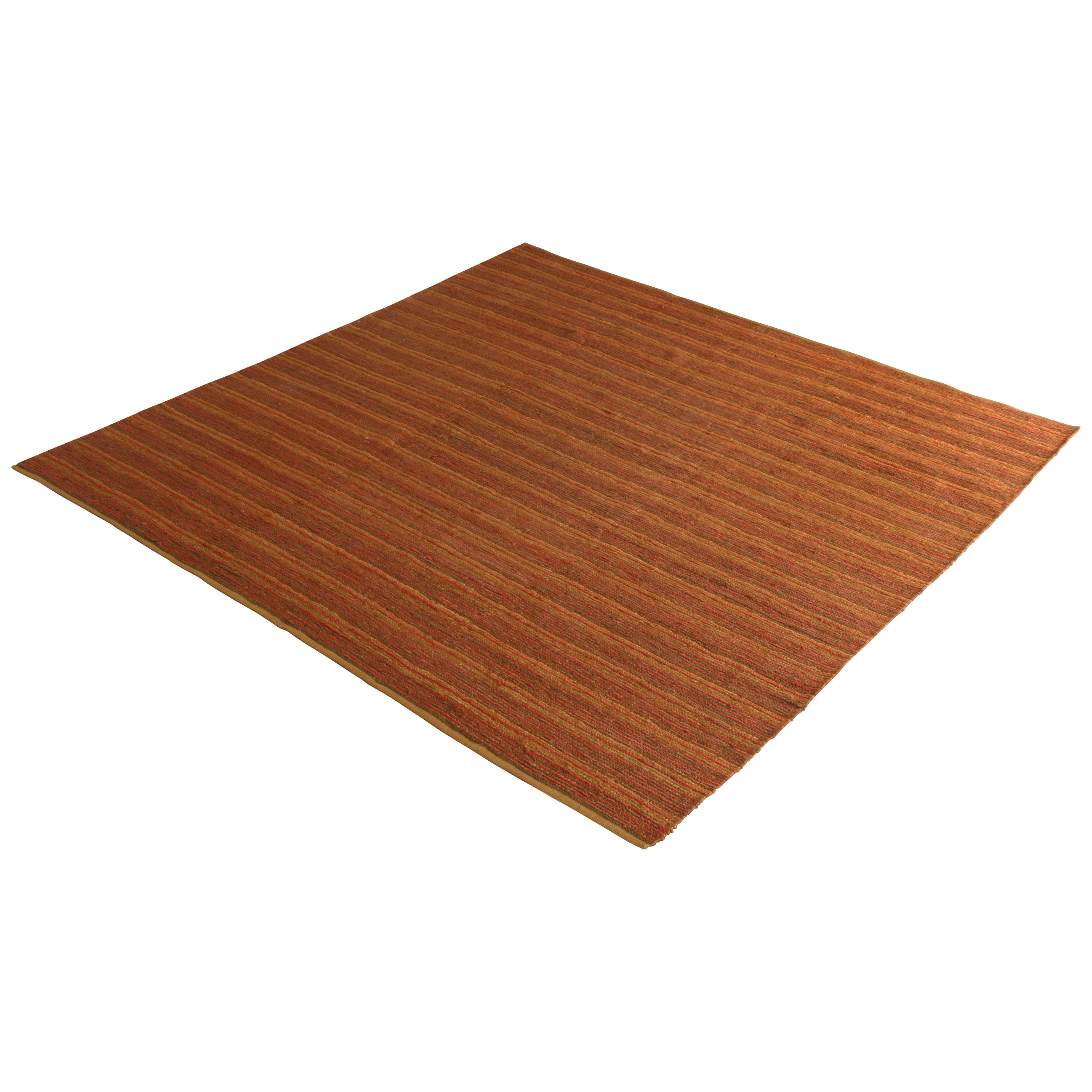 Contemporary Flat-Weave Striped Orange Brown Square Kilim by Rug & Kilim