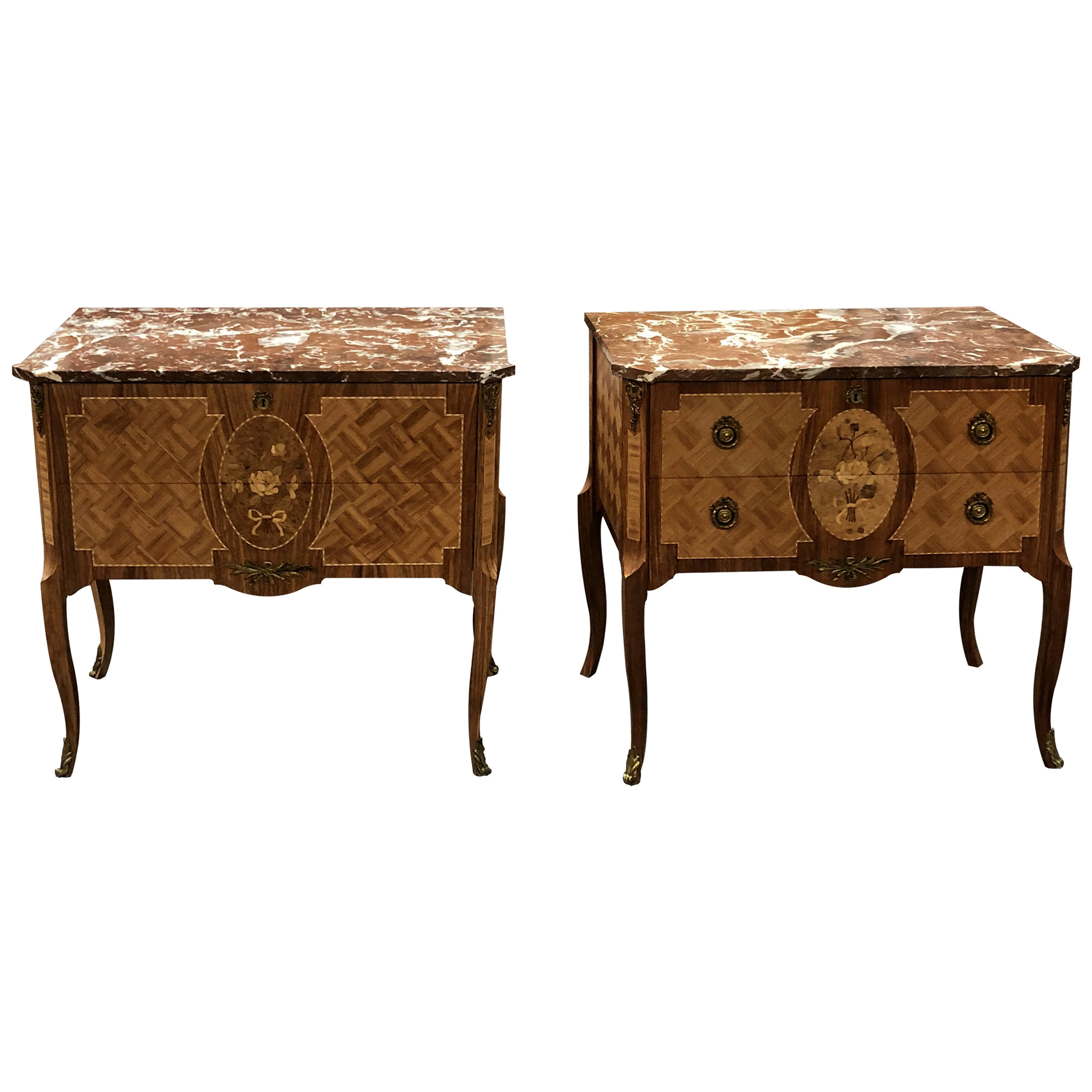 Midcentury Swedish Pair of Chest of Drawers and Marble Top, Gustavian Style