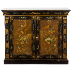 English Black and Gold 19th Century Cabinet with Painted Floral Marble Top