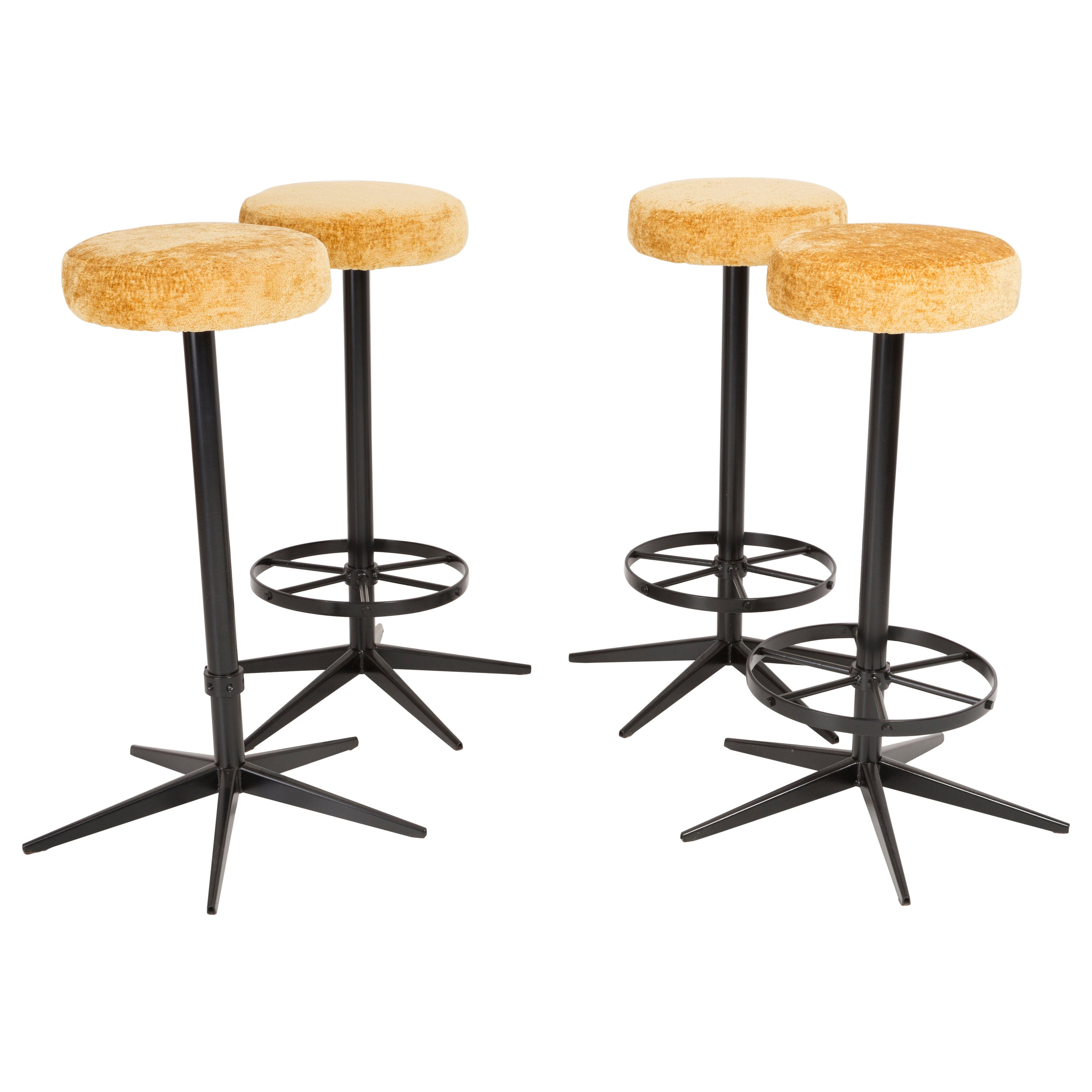 Set of Four Mid-Century Modern Yellow Bar Stools, 1960s