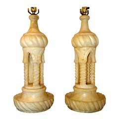 Pair of Large Alabaster Table Lamps