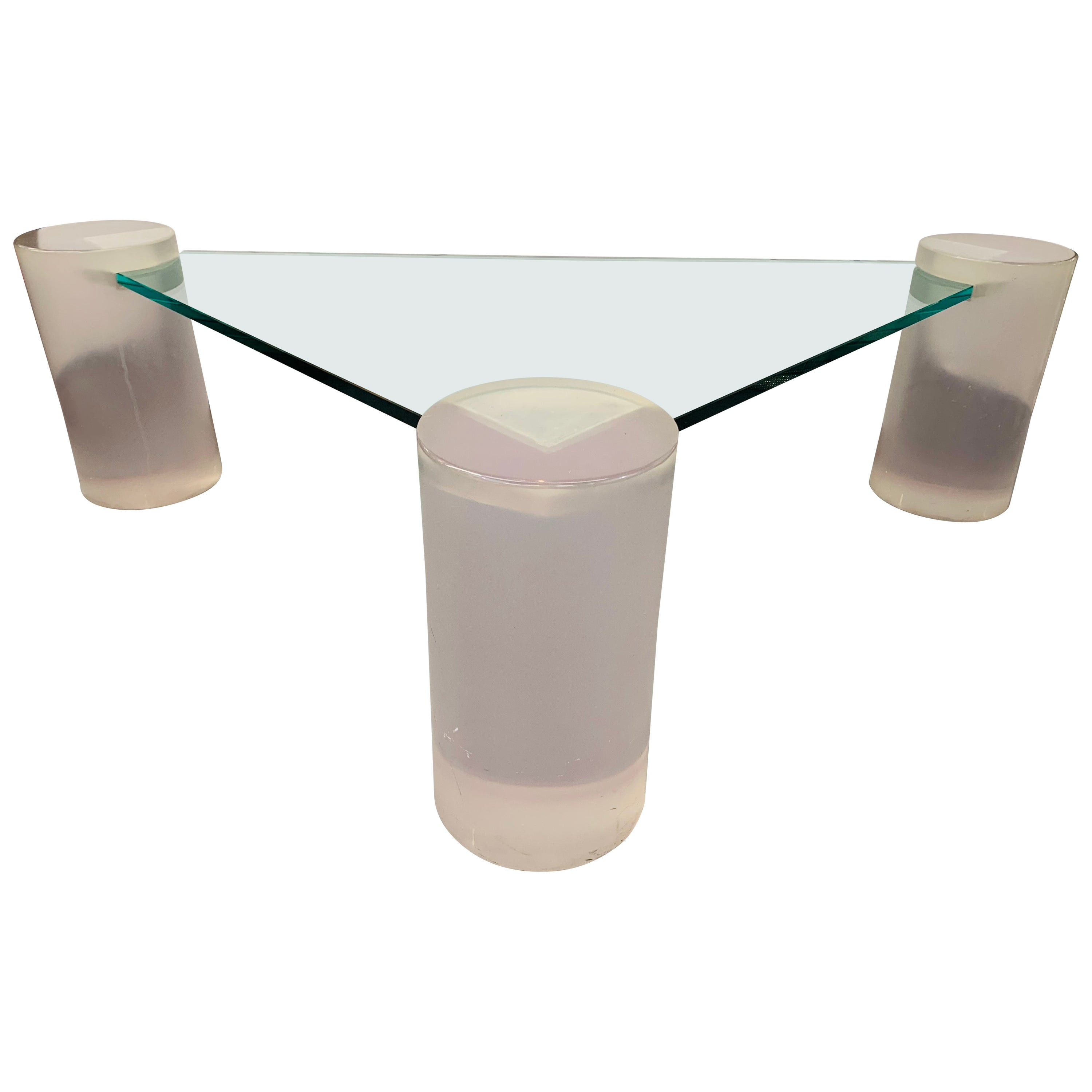 Triangle Lucite and Glass Coffee Table