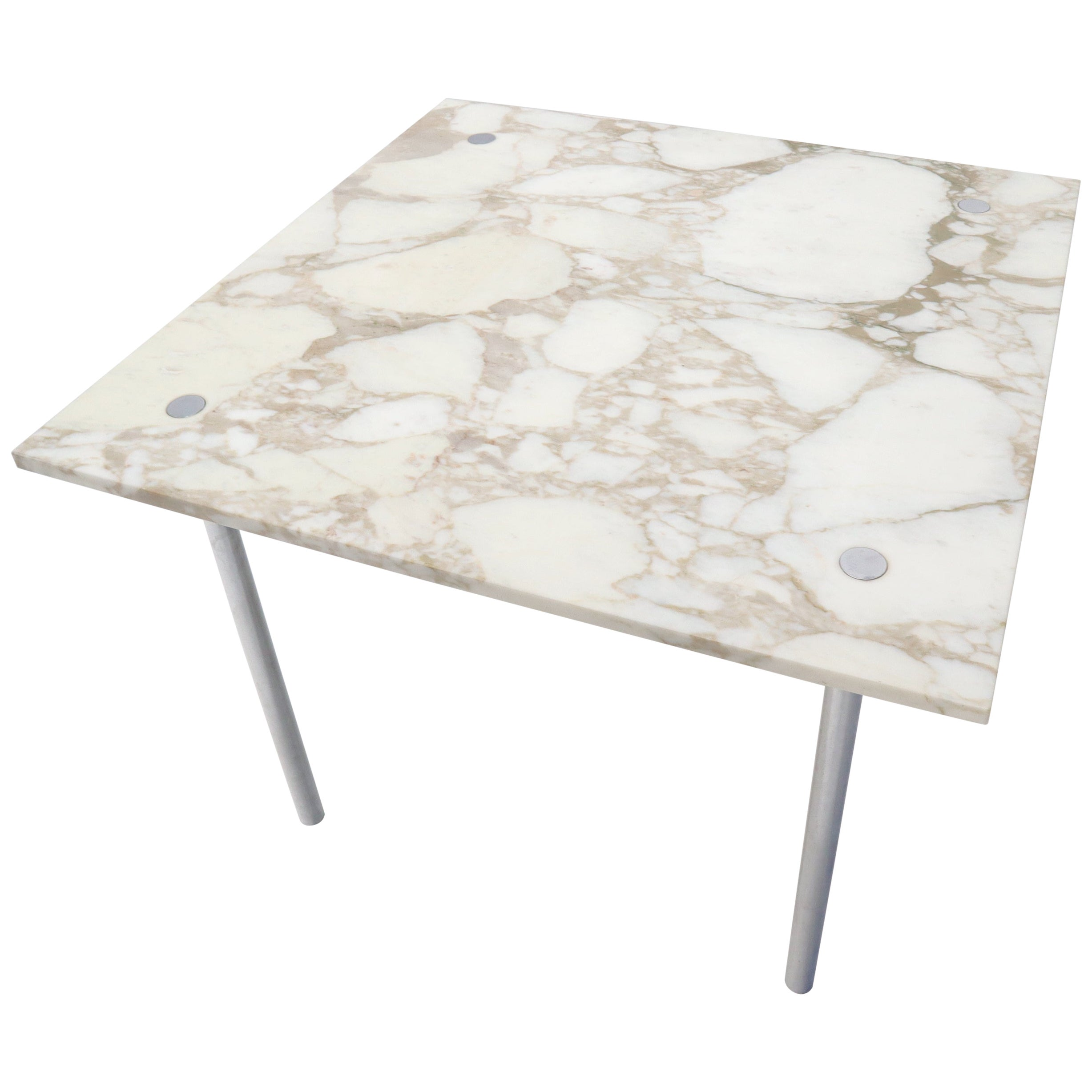 Square Marble Top Cylinder Chrome Legs Game Dining Center Table