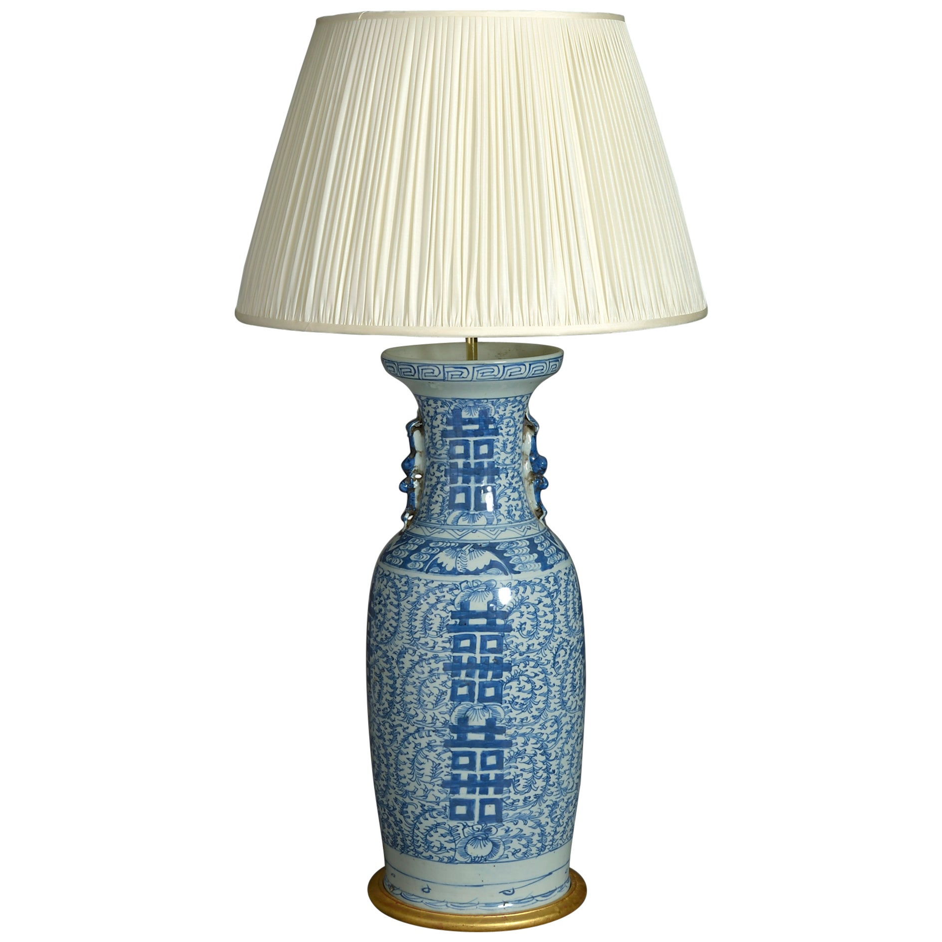 Tall 19th Century Blue and White Porcelain Vase Lamp