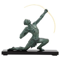 Jean de Roncourt French Art Deco Archer Man Sculpture, 1930s