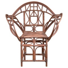 Curved Hand-Crafted Willow Chair, Austria