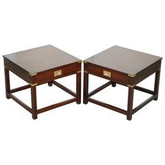 Large Pair of Harrods Kennedy Mahogany Military Campaign Side End Lamp Tables