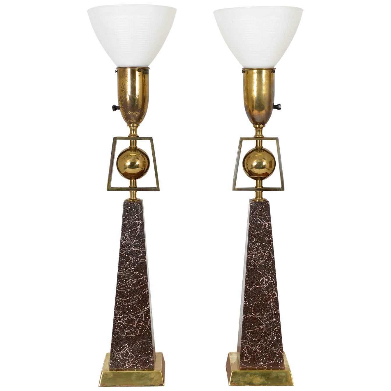 Pair of American Mid-Century Modern Obelisk Table Lamps by Rembrandt Lighting