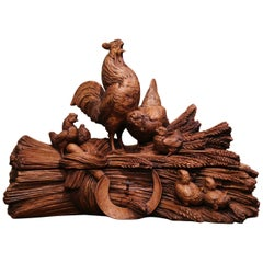 19th Century French Black Forest Carved Walnut Jewelry Box with Rooster Family