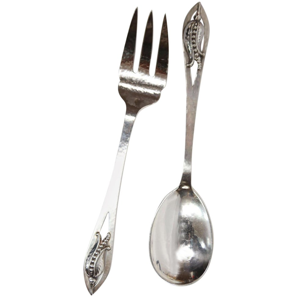 Carl Poul Petersen Sterling Silver Blossom Corn Flower Fork and Spoon Servers