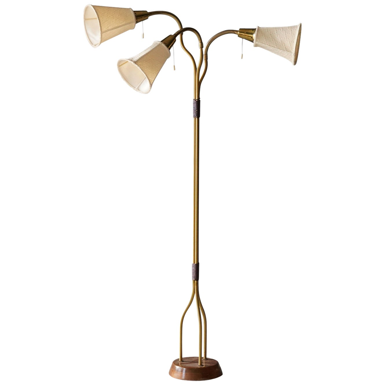 Swedish Designer, Organic Modernist Floor Lamp, Brass, Teak, Fabric, 1950s