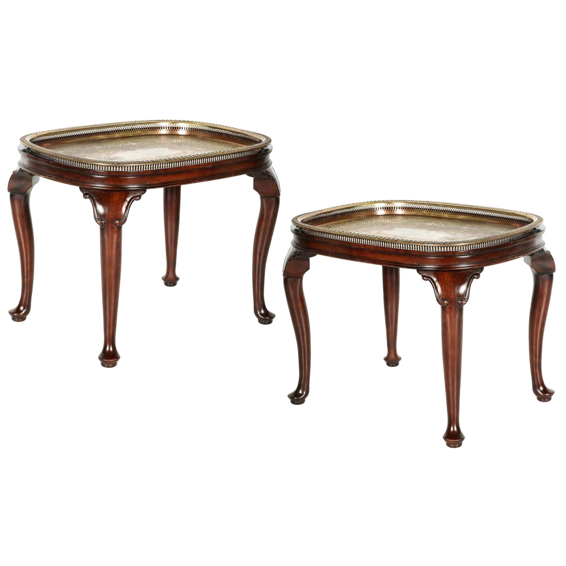 Pair of Vintage Queen Anne Style Mahogany Tray Top Side Tables