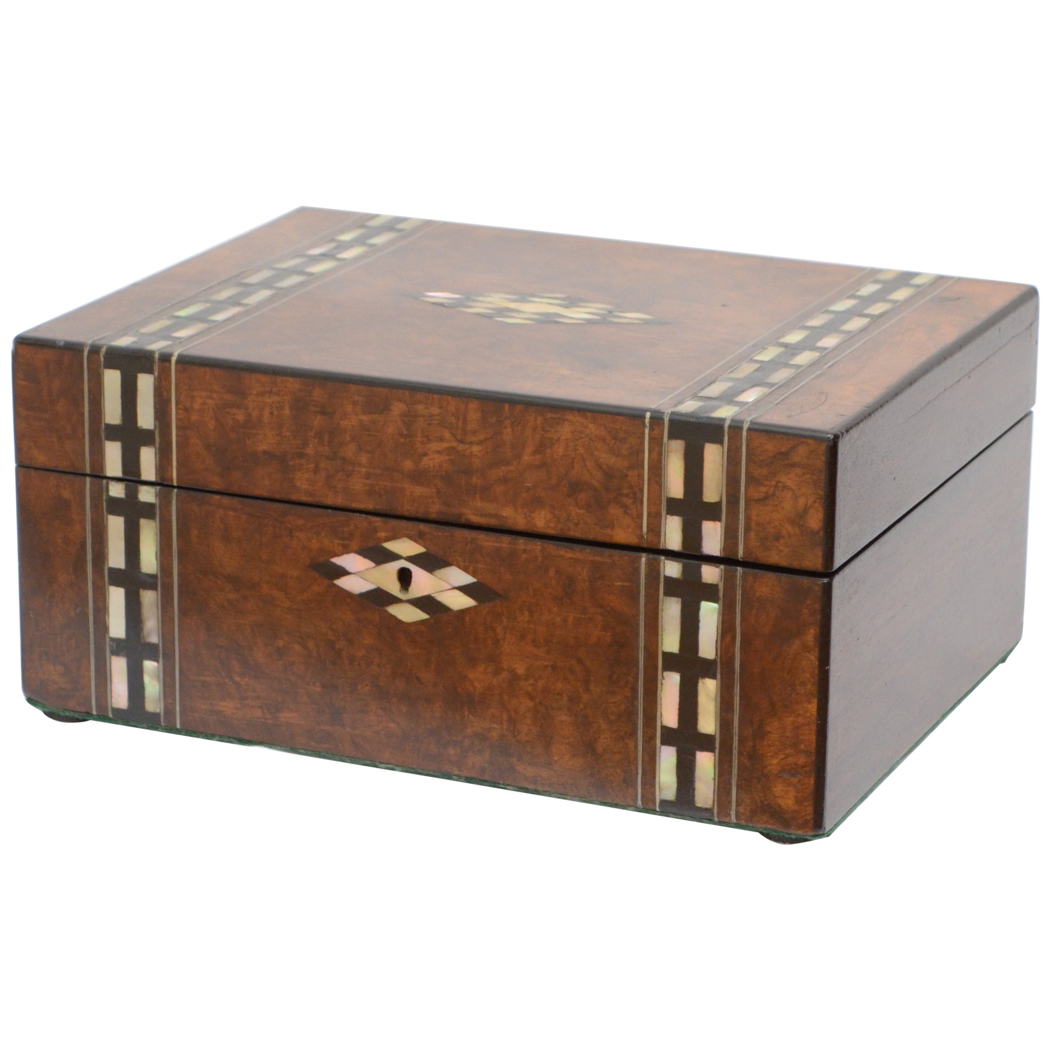 Victorian Walnut and Inlaid Jewelry Box Sewing Box with Tray