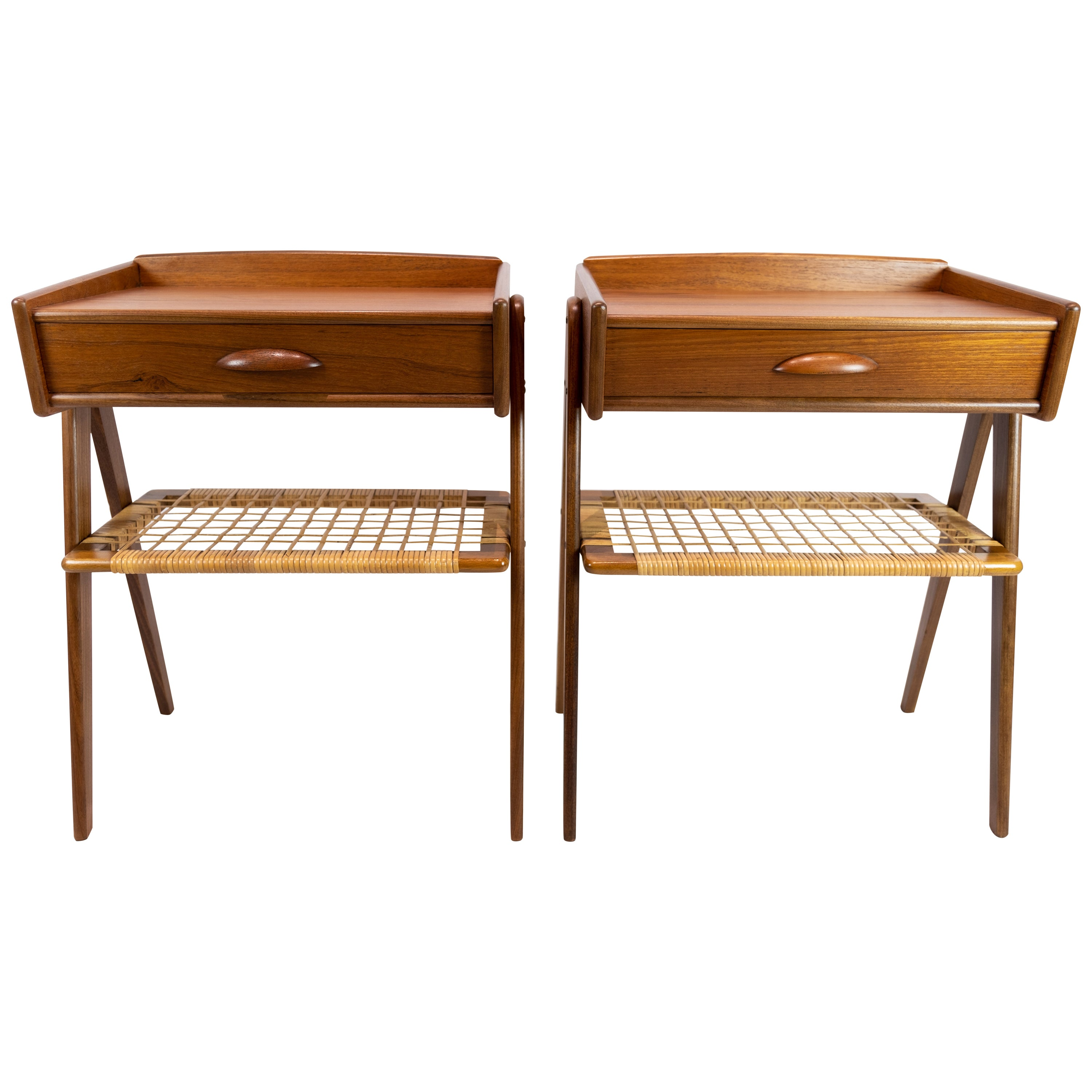 Pair of Side Tables in Teak with Paper Cord Shelf of Danish Design, 1960s