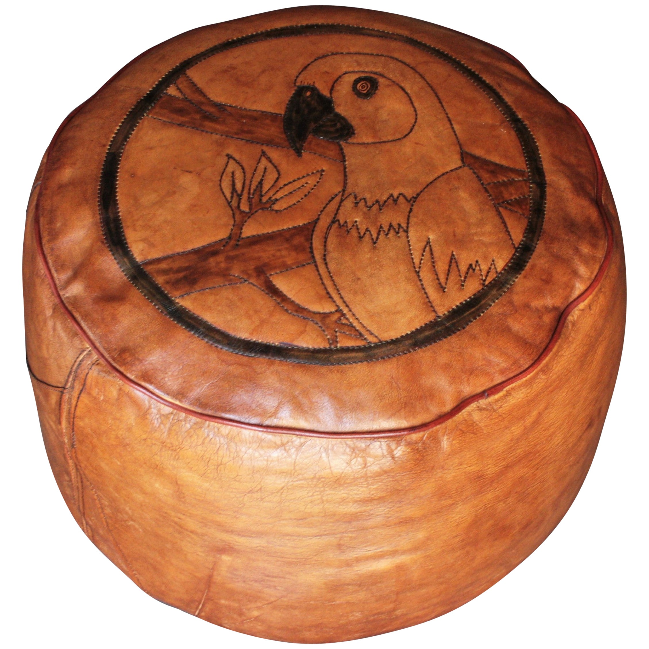 Parrot Motif Handcrafted Leather Pouf, Ottoman or Footstool from the 1960s