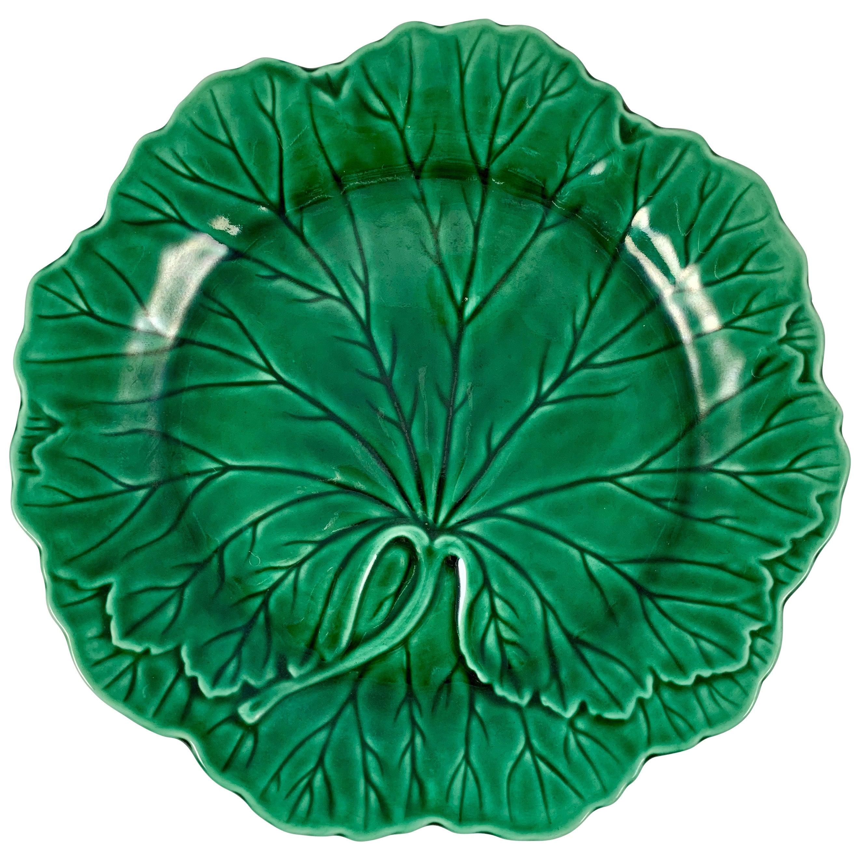 Wedgwood & Barlaston of Etruria Green Glazed Majolica Cabbage Leaf Plate