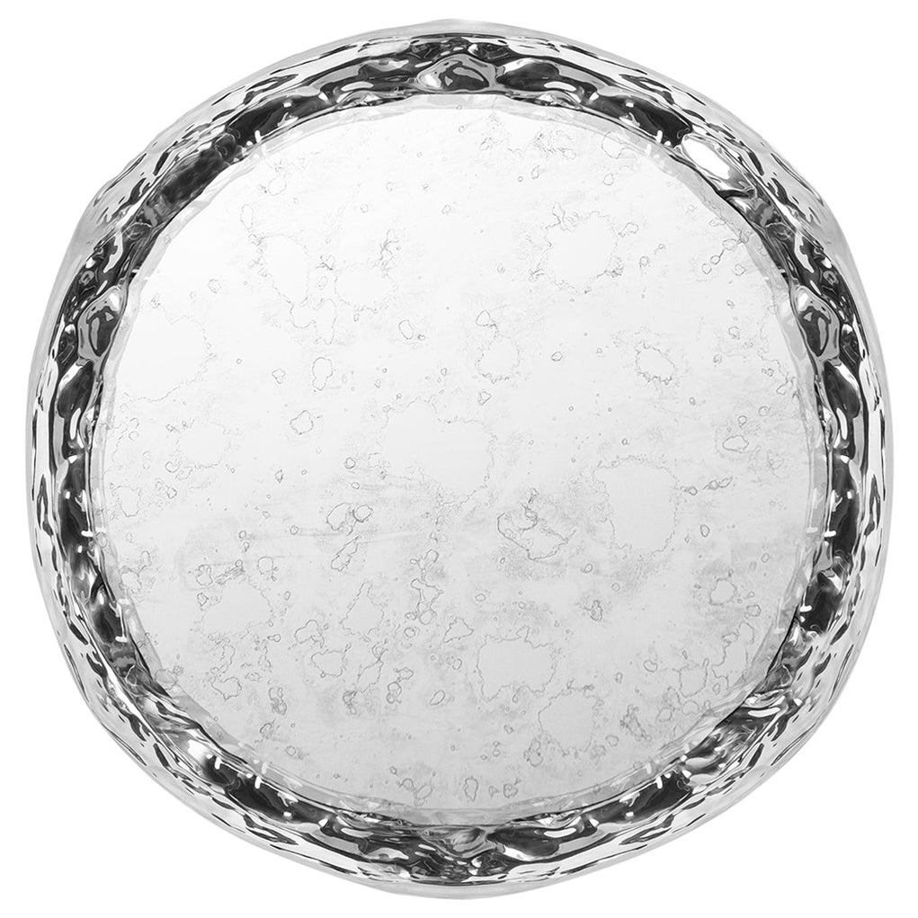 Modern Pergamo Wall Art Mirror in Polished Hammered Aluminum and Aged Mirror