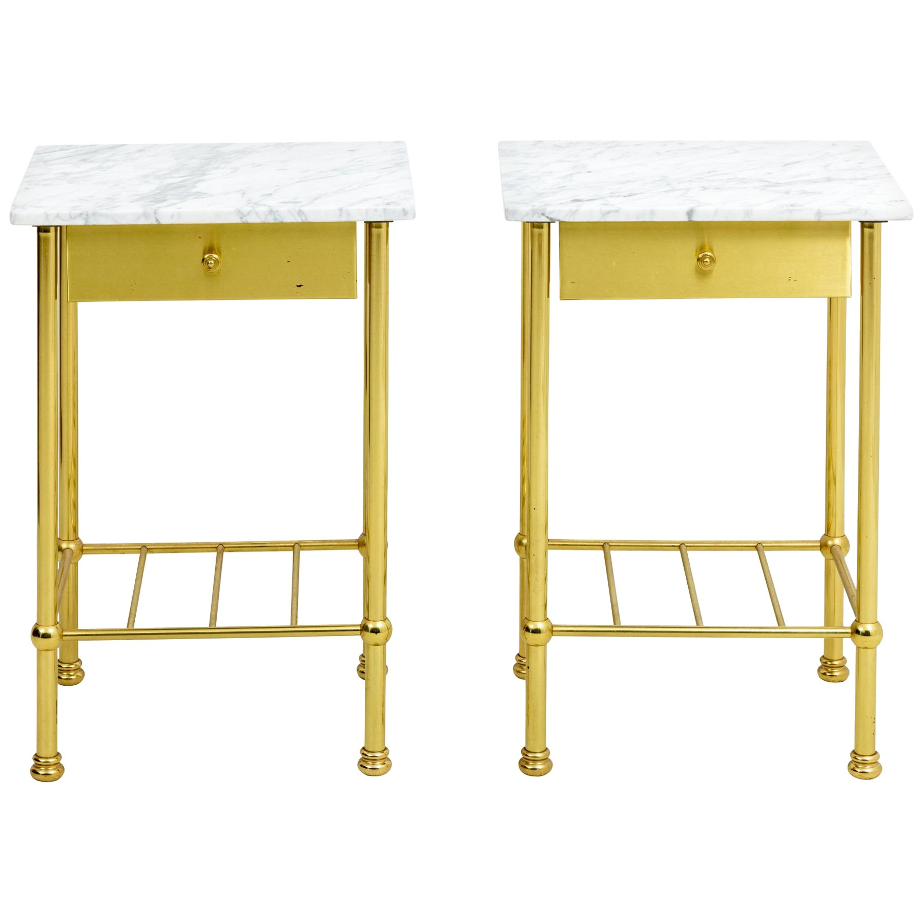 Brass and Marble Side Tables
