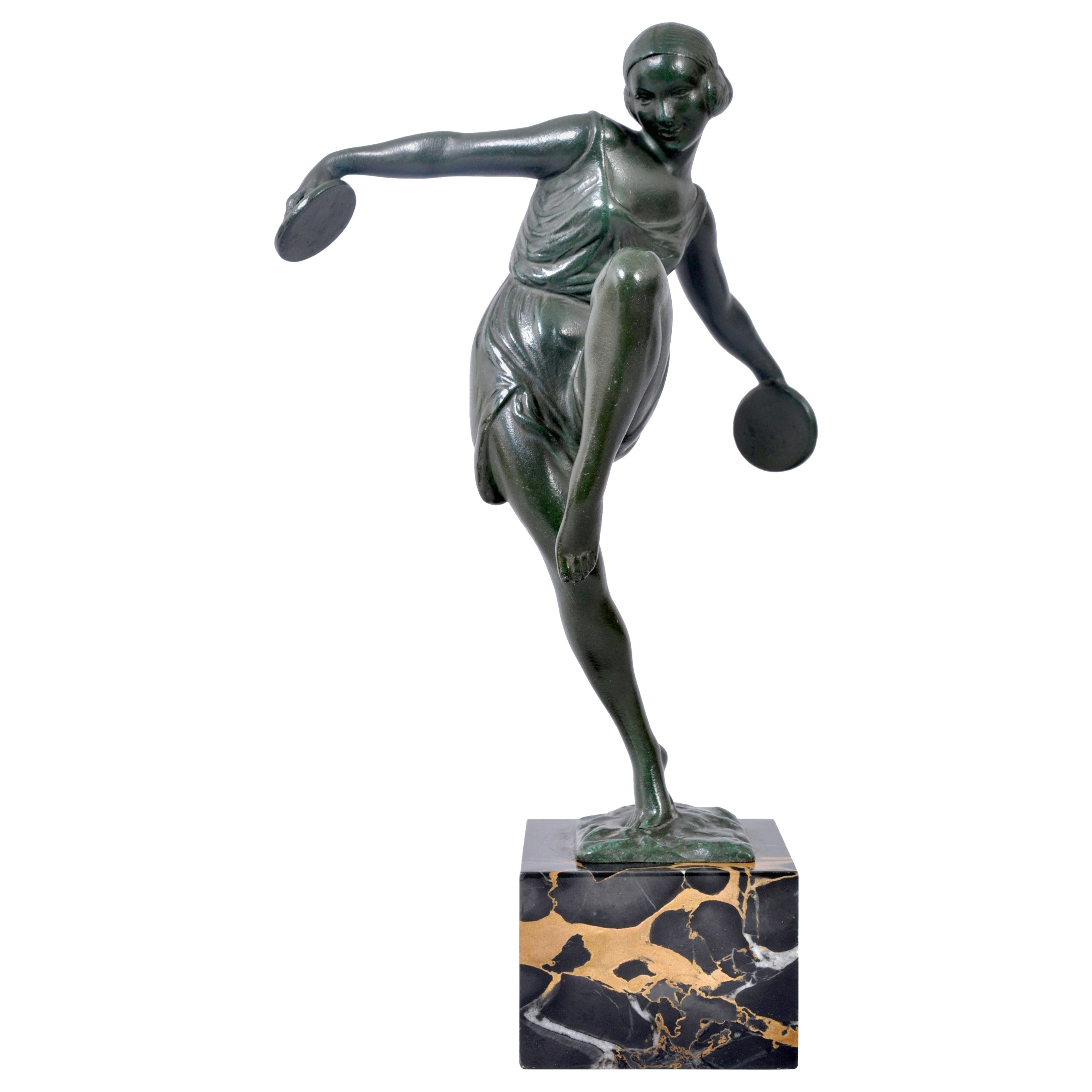 French Art Deco Bronze Female Cymbal Dancer Statue Figure Pierre Le Faguays 1925