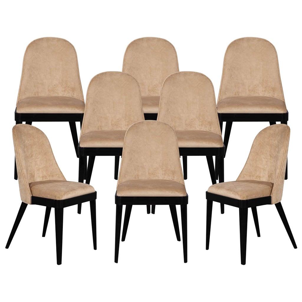Set of 8 Custom Modern Dining Chairs in Tan Velvet by Carrocel