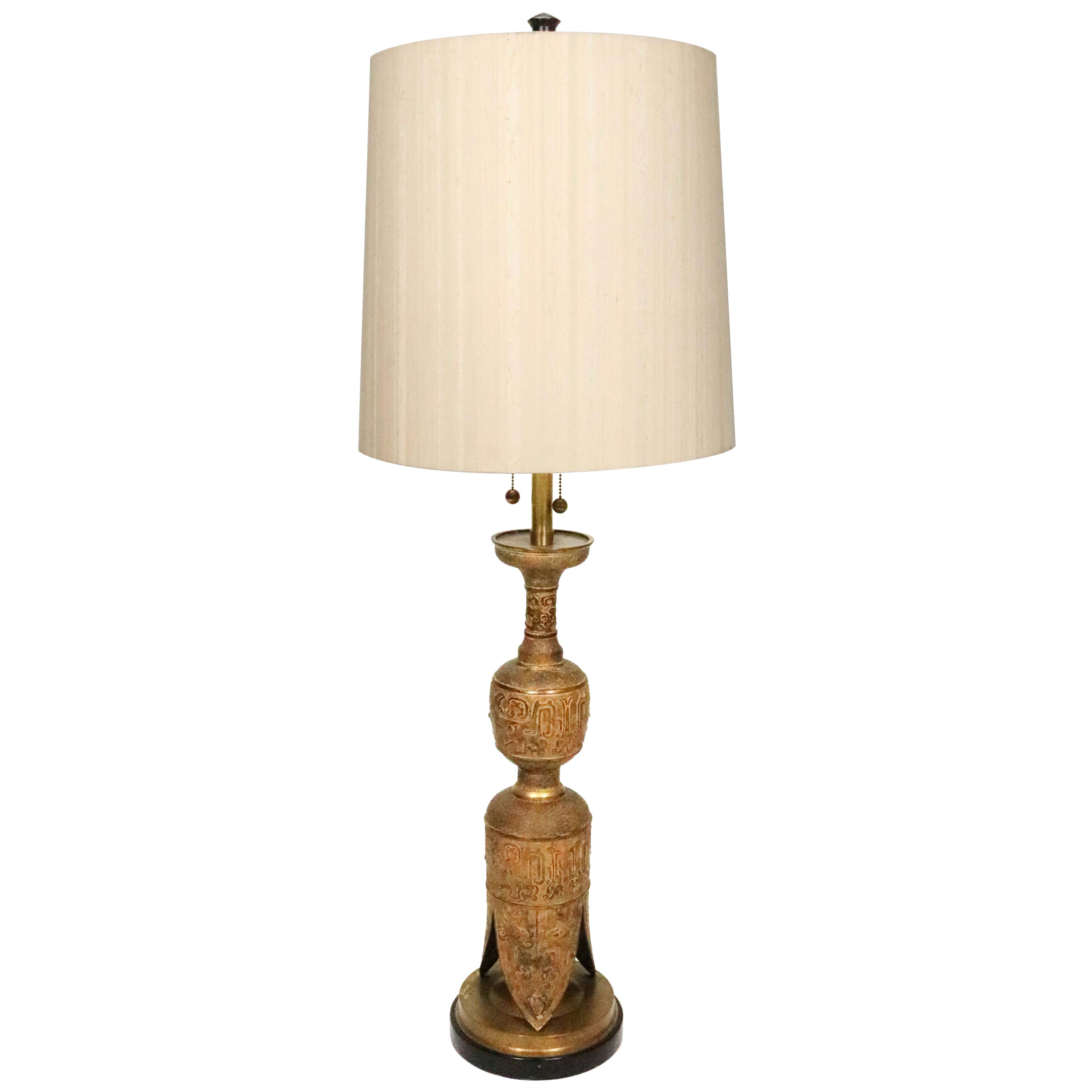 Midcentury Asian Motif Antiqued Brass Table Lamp by Marbro