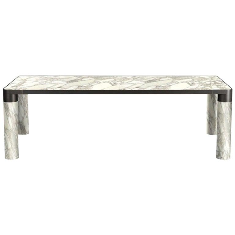 Ghidini 1961 Bold Small Table in Calacatta Marble Top & Black Gold, E.Giovannoni