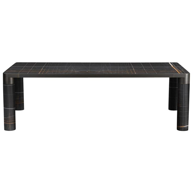Ghidini 1961 Bold Large Table in Noir Marble Top and Black Gold, E.Giovannoni