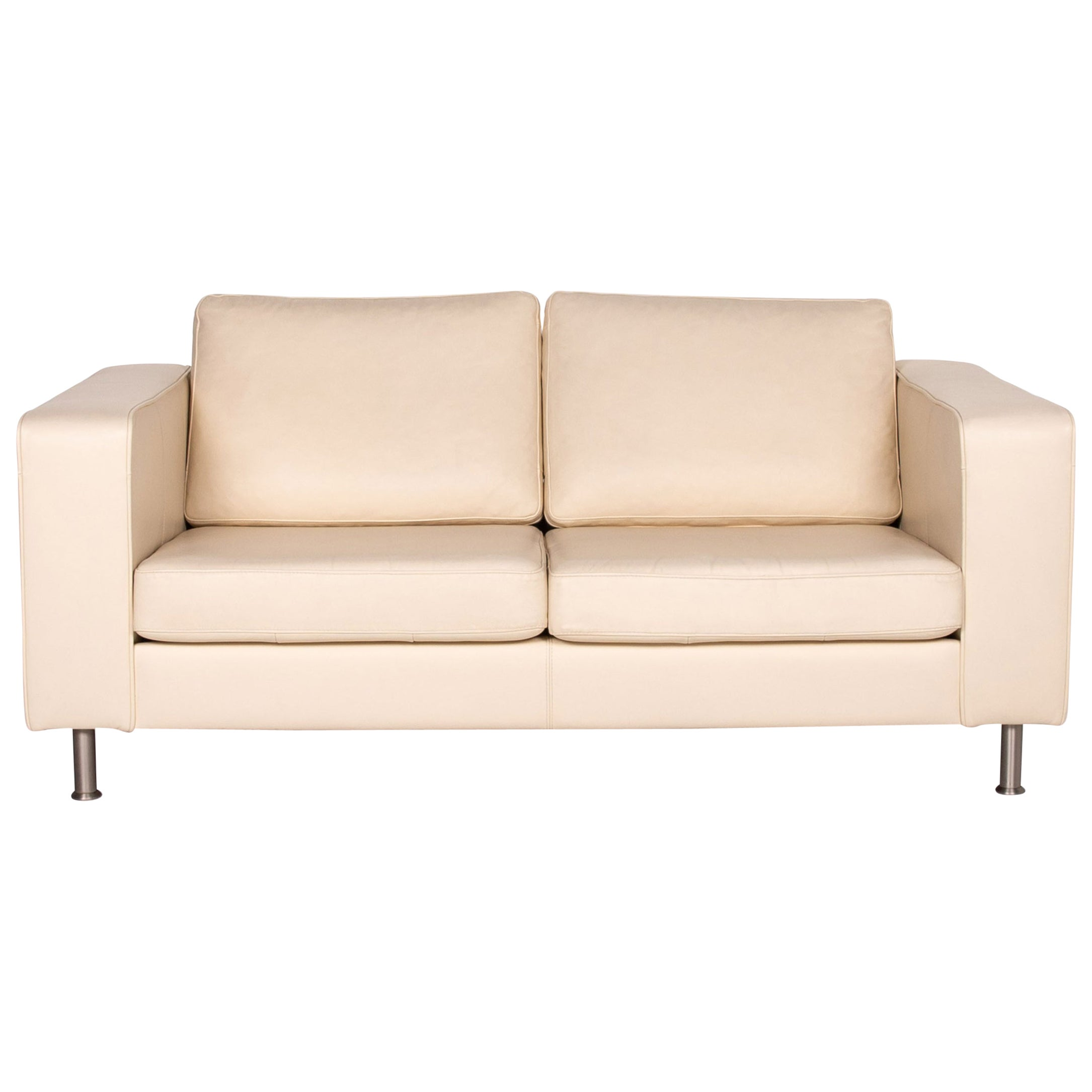 BoConcept Leather Sofa Cream Two-Seat Couch