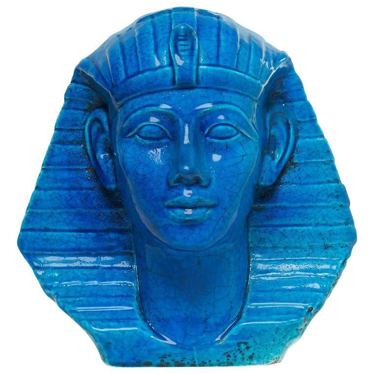 Medium Persian Blue Glaze King Tutankhamun Ceramic Bust by Ugo Zaccagnini