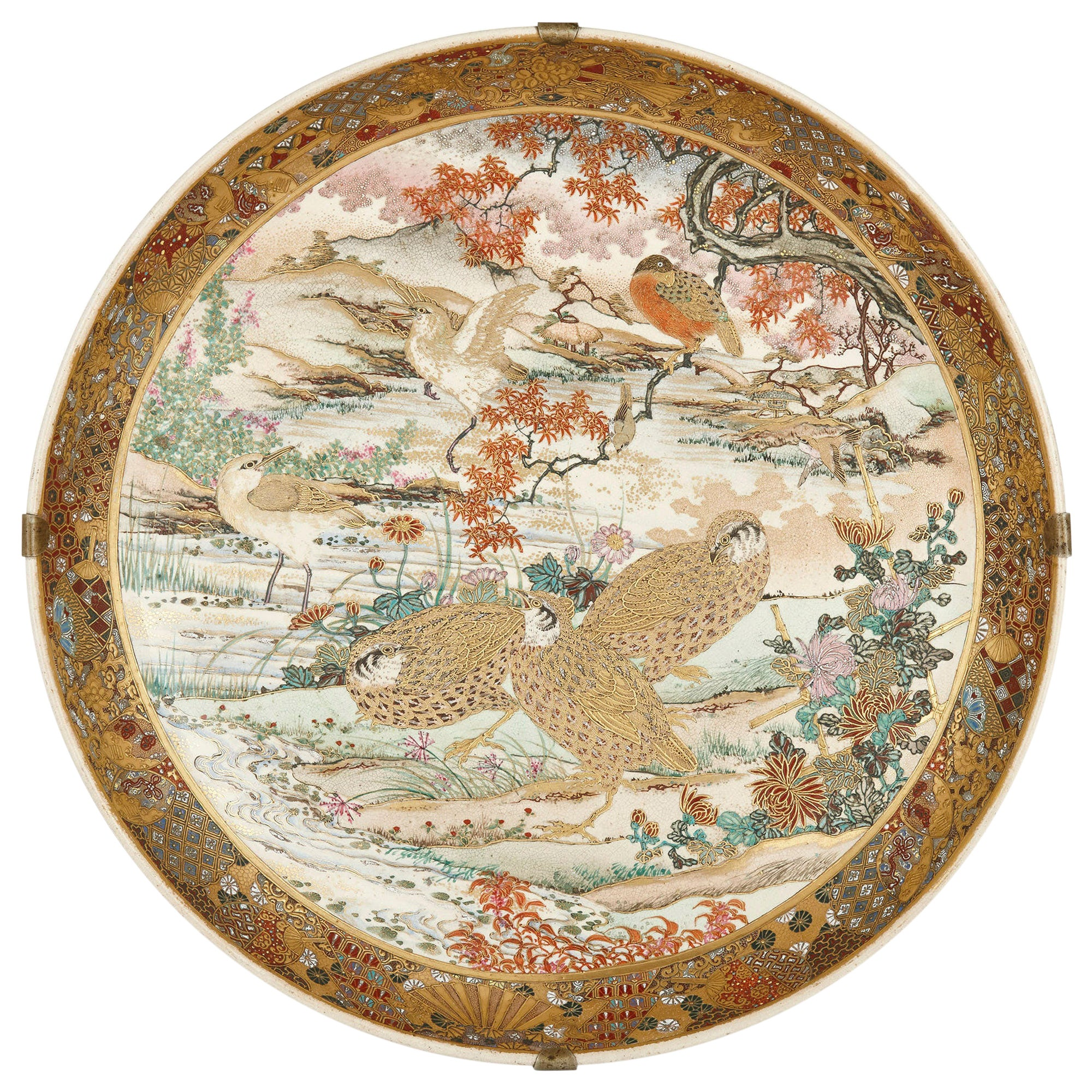 Antique Japanese Parcel-Gilt Porcelain Dish