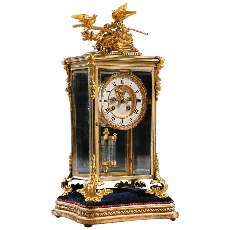 French 8-Day Striking Four Glass Ormolu Clock by Samuel Marti, Paris
